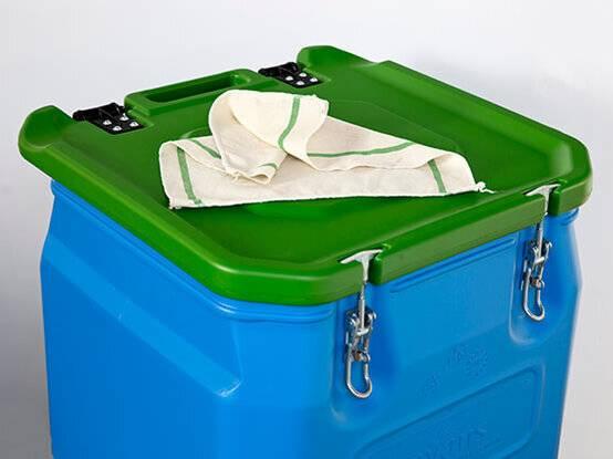Speciale opberg container voor de pluisarme poetsdoeken van Lavans.