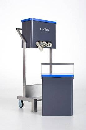 Handige poetsdoeken dispenser van Lavans van zijaanzicht